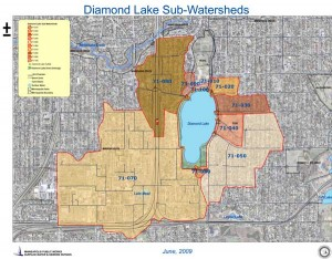 Approximate Watershed (Drainage Area) for Diamond Lake.